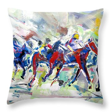 Throw Pillow featuring the painting Summer Race by John Jr Gholson