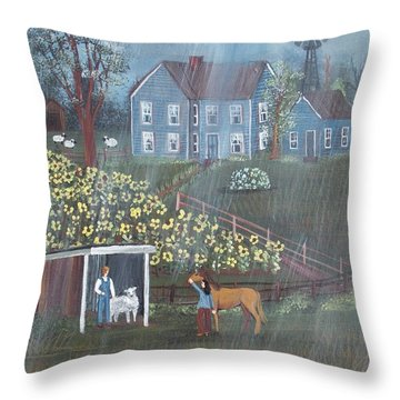 Throw Pillow featuring the painting Summer Rain by Virginia Coyle