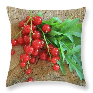 Summer, Red Berries And Rucola On Wooden Board Throw Pillow
