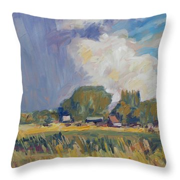 Throw Pillow featuring the painting Summer Shower Ouderkerk Aan Den Ijssel by Nop Briex