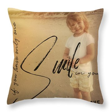 Summer Smile Quote Throw Pillow