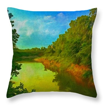 Summer Soft Morning Creek Throw Pillow