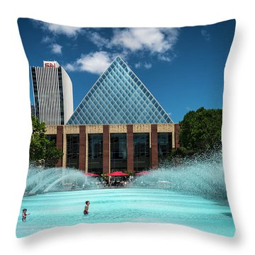 Throw Pillow featuring the photograph Summer Splash Downtown Edmonton by Darcy Michaelchuk