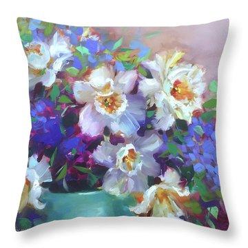 Summer Spray Daffodils Throw Pillow by Nancy Medina