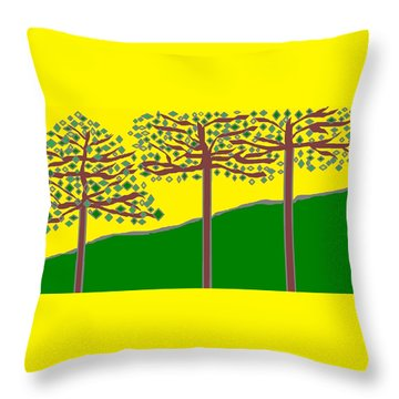 Summer Stained Glass 2 Throw Pillow
