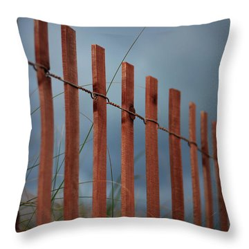 Throw Pillow featuring the photograph Summer Storm Beach Fence by Laura Fasulo