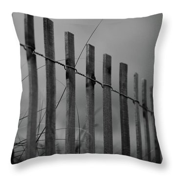 Throw Pillow featuring the photograph Summer Storm Beach Fence Mono by Laura Fasulo