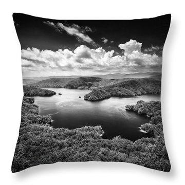 Summer Storms Over Lake Jocassee Throw Pillow