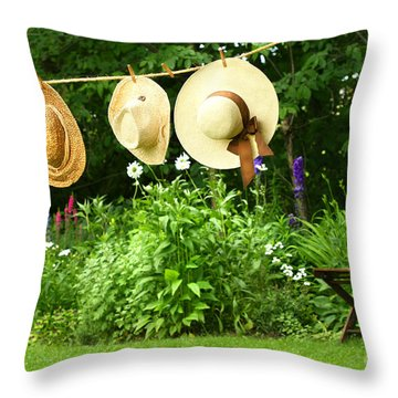 Summer Straw Hats Hanging On Clothesline Throw Pillow by Sandra Cunningham