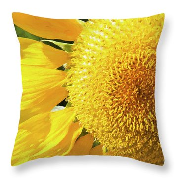 Throw Pillow featuring the photograph Summer Sunflower Painterly by Andee Design