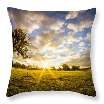Summer Sunrise Across Delware Park Meadow Throw Pillow