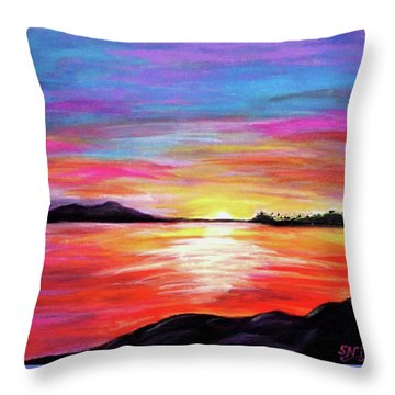 Throw Pillow featuring the painting Summer Sunrise by Sonya Nancy Capling-Bacle