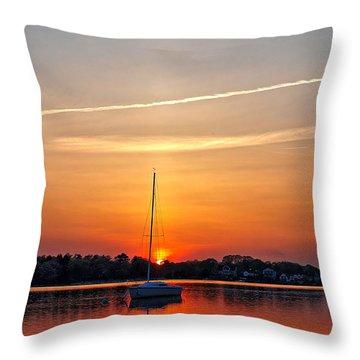 Summer Sunset At Anchor Throw Pillow