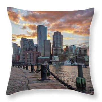 Summer Sunset At Boston's Fan Pier Throw Pillow