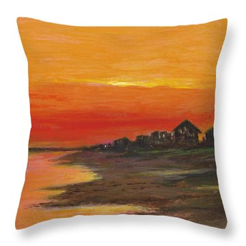 Summer Sunset At  Crystal Beach Throw Pillow