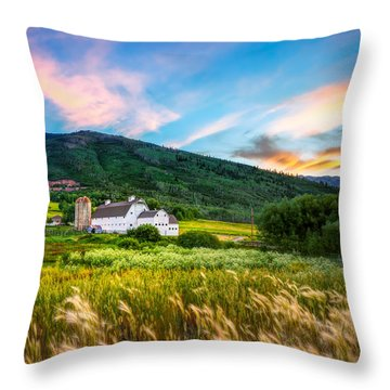 Summer Sunset At Park City Barn Throw Pillow
