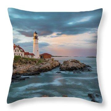 Summer Sunset At Portland Head Light Throw Pillow