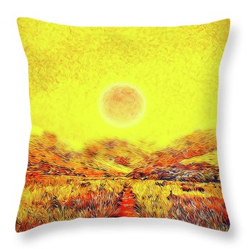 Throw Pillow featuring the digital art Summer Sunset Field - Trail In Marin California by Joel Bruce Wallach