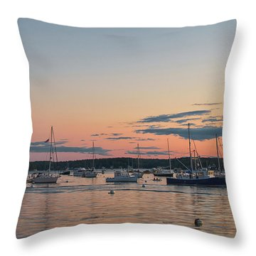 Summer Sunset In Boothbay Harbor Throw Pillow