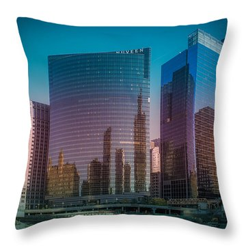 Summer Sunset In Chicago Downtown  Throw Pillow