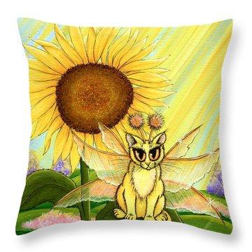Summer Sunshine Fairy Cat Throw Pillow