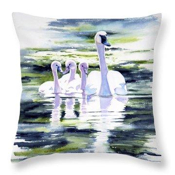 Summer Swans Throw Pillow