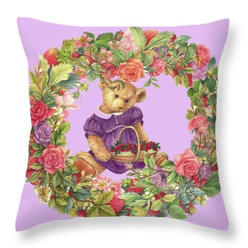 Summer Teddy Bear With Roses Throw Pillow