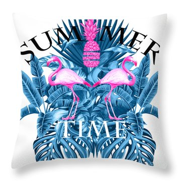 Summer Time Tropical  Throw Pillow