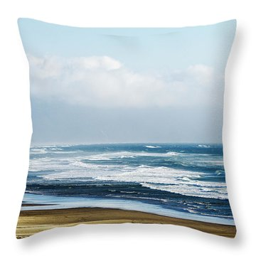 Summer Waves Netarts Oregon Throw Pillow