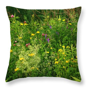 Summer Wildflowers Throw Pillow