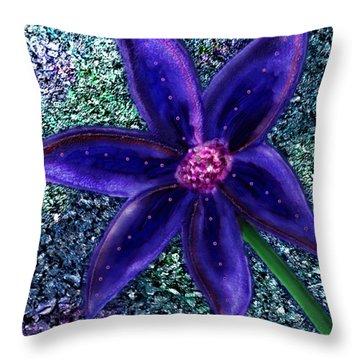 Throw Pillow featuring the digital art Summer's Blue Flower by Iowan Stone-Flowers