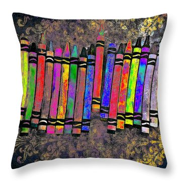 Throw Pillow featuring the digital art Summer's Crayon Love by Iowan Stone-Flowers