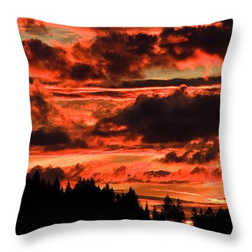 Summer's Crimson Fire Throw Pillow