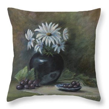 Throw Pillow featuring the painting Summer's Delight by Katalin Luczay