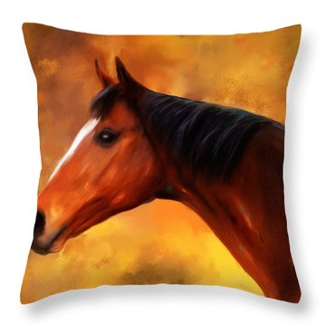 Summers End Quarter Horse Painting Throw Pillow