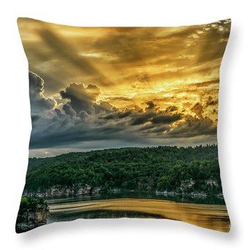 Summersville Lake Sunrise Throw Pillow