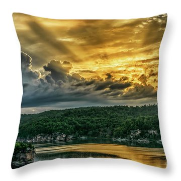 Summersville Lake Sunrise Throw Pillow