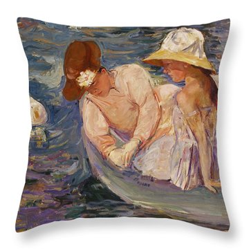 Throw Pillow featuring the painting Summertime By Mary Cassatt 1894 by Movie Poster Prints