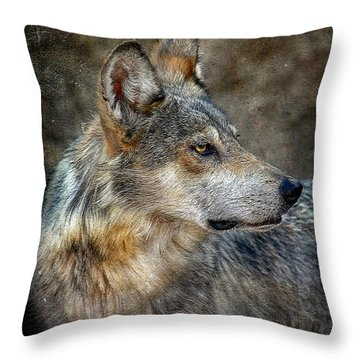 Summertime Coated Wolf Throw Pillow