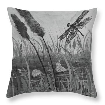 Throw Pillow featuring the painting Summertime Dragonfly Black And White by Robin Maria Pedrero