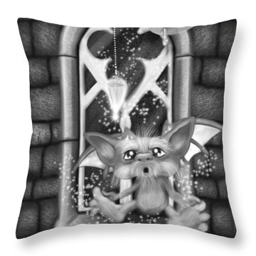 Summoned Pet - Black And White Fantasy Art Throw Pillow