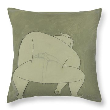 Throw Pillow featuring the painting Sumo Wrestler by Ben Gertsberg