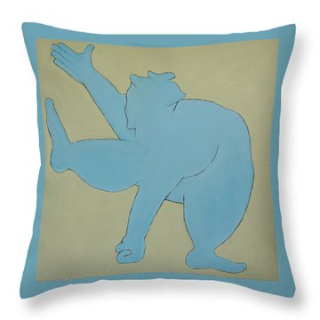 Throw Pillow featuring the painting Sumo Wrestler In Blue by Ben Gertsberg