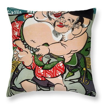 Sumo Wrestling Throw Pillow by Granger