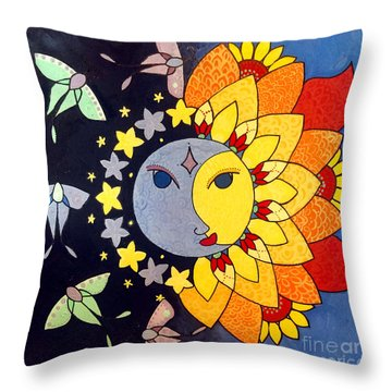 Throw Pillow featuring the painting Sun And Moon by Caroline Sainis
