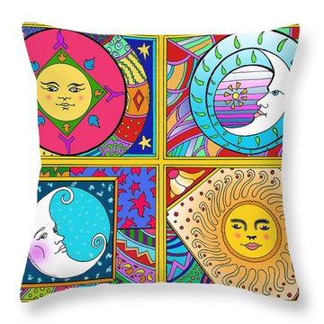 Sun And Moon Ensemble Throw Pillow by John Keaton