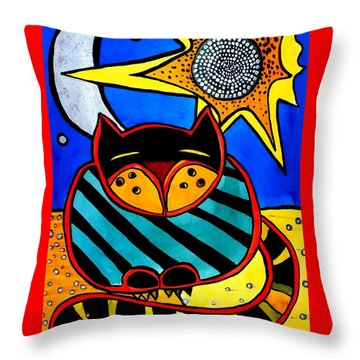Sun And Moon - Honourable Cat - Art By Dora Hathazi Mendes Throw Pillow
