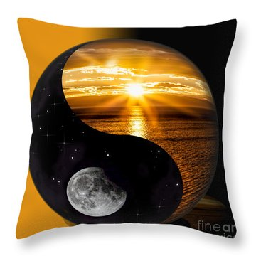 Sun And Moon - Yin And Yang Throw Pillow