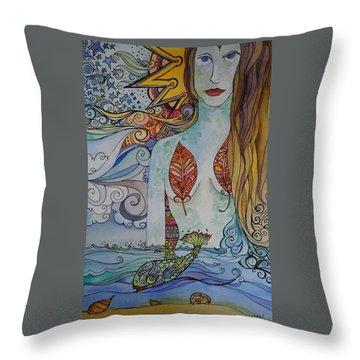 Sun And Sea Godess Throw Pillow
