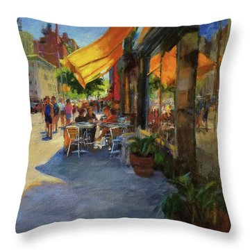Sun And Shade On Amsterdam Avenue Throw Pillow by Peter Salwen